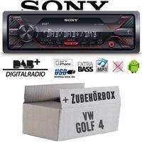Autoradio Radio Sony DSX-A310DAB - DAB+ | MP3/USB - Einbauzubehör - Einbauset für VW Golf 4 IV - JUST SOUND best choice for caraudio