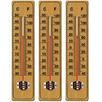 Deuba 3x Thermometer Außen & Innen Holz Glas Analog mit Celcius Fahrenheit Aufhängung Outdoor Haushalt Außenthermometer
