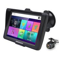 Awesafe 7 Zoll Navigationsgerät mit Rückkamera GPS Touchscreen Bluetooth Sonnenschutz Fahrspurassistent 48 Länderkarte 3D Karte kostenlos Kartenaktualisierung