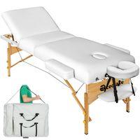 tectake 3 Zonen Massageliege mit 10cm Polsterung und Holzgestell - weiß