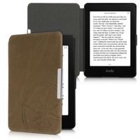 kalibri Hülle kompatibel mit Amazon Kindle Paperwhite - Leder eBook eReader Schutzhülle Cover Case (für Modelle bis 2017) - Kompass Vintage Braun