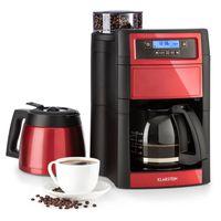Klarstein Aromatica II Duo Kaffeemaschine mit Mahlwerk - Filter-Kaffeemaschine, 1000 Watt, 1.25 Liter Glaskanne, 1.25 Liter Thermoskanne, Timer, inkl. Permanent- und Aktivkohle Filter, rot