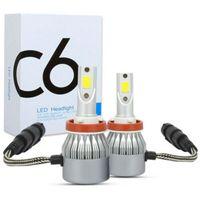 2 Stk C6 H8 H9 H11 120W 32000LM LED Scheinwerfer Kit Auto Birne Hi-low Abblendlicht 6000K Weiß Xenon