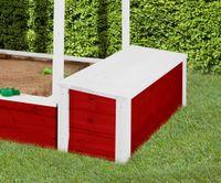 WEKA Truhe mit Deckel für Kinderspielhaus 818, Farbe: rot/weiss, Länge: 136 cm, Breite: 67 cm, Höhe: 19 cm; 818.020.013.400