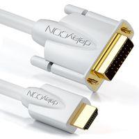 deleyCON 1m HDMI zu DVI Kabel - HDMI Stecker zu DVI Stecker 24+1 - 1080p FULL HD HDTV 1920x1080 - vergoldete Kontakte - TV Beamer PC - Weiß