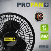 GHP Garden High Pro Clip Fan 5 Watt 15 cm leise robust und langlebig Grow Box