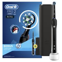 Oral-B PRO 2 2500 Black Edition Elektrische Zahnbürste mit visueller Andruckkontrolle für extra Zahnfleischschutz, Reise-Etui, schwarz