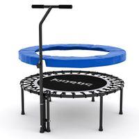 Kinetic Sports Fitness Trampolin Indoor Ø 100 cm, RUND, höhenverstellbarer Haltegriff, Gummiseilfederung, Randabdeckung BLAU , belastbar bis 120 kg