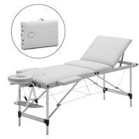 mobile Massageliege klappbare Therapieliege tragbares Massagebett leichter Massagetisch 3 Zonen mit höhenverstellbaren Aluminiumfüße - Weiß - Meerveil