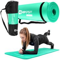 Hop-Sport Gymnastikmatte 1cm  - rutschfeste Yogamatte für Fitness Pilates & Gymnastik mit Transporttasche - Maße 180cm Länge 61cm Breite - türkis