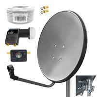 ARLI 60 cm HD Sat Anlage grau + Twin LNB + 10m Kabel + Satfinder + 2x F-Stecker vergoldet