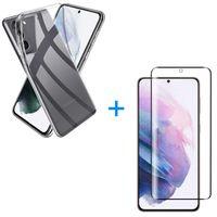 Samsung Galaxy S21 5G Panzerglas Schutz Folie Hart-Glas + Schutzhülle Transparent Silikon Case Full-Cover Full Screen
