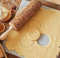 Darmowade-Weihnachten Präge Nudelholz, 2020 NEU Weihnachten Geprägt Teigroller, 3D Holz Nudelholz, Teigroller mit Prägung, DIY Küchenwerkzeug Backzubehör für Fondant Teig Pizza Amygline Keks