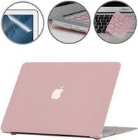 """Gummierte Harte Schutzhülle Hülle für Apple MacBook Air 13"""" (13,3 Zoll) + Schutzfolie + Silikon Tastaturschutz  - Rose Quartz"""