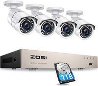 ZOSI 8CH H.265+ 5MP POE NVR Überwachungssystem mit 1TB Festplatte und 4 Außen IP Überwachungskamera Set 36M Nachtsicht