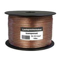 Lautsprecherkabel 100m Spule Kupfer High End Boxenkabel 2x 4,0 mm² HiFi Boxen Kabel Transparent