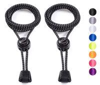 SCHNÜRRLIE Schnürsenkel - elastische Schnürbänder ohne Schuhe Binden - Laces rund flach mit Schnellverschluss für Kinder Erwachsene - 100 cm Schwarz