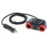 OTB KFZ-Adapter / Verteiler Zigarettenanzünder 2x Kupplung + 4 USB - 1,2m Kabel