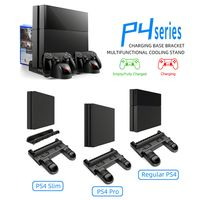 Multifunktions-Ladestation fuer vertikale Kuehler LED-Anzeige Luefter Ladestation mit Speicher fuer Spiele-Discs fuer PS4 PS4 Slim PS4 Pro