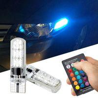 T10 Auto Breite Licht RGB T10 6LED 5050 Silikon bunte LED Auto Lichter Nummernschild Licht blinkt