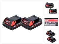 Milwaukee M18 B2 Akku Set 18 V 2x 2,0 Ah / 2000 mAh RED Li-Ion ( 2x 4932430062 )