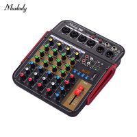 Muslady TM4 Digitaler 4-Kanal-Audiomixer Mischpult Eingebaute 48-V-Phantomspeisung mit BT-Funktion Professionelles Audiosystem fuer Studioaufnahmen uebertragen Sie DJ Network Live