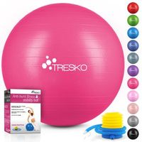 TRESKO Gymnastikball (Rosa, 65cm) mit Pumpe Fitnessball Yogaball Sitzball Sportball Pilates Ball Sportball