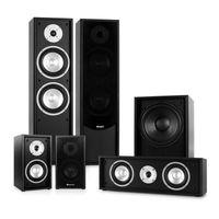 auna Linie-300-BK5.1 Heimkino Lautsprecher Set Soundsystem (515W RMS, 2 Standlautsprecher, 2 Regallautsprecher, 1 Centerlautsprecher, 1 Subwoofer) schwarz