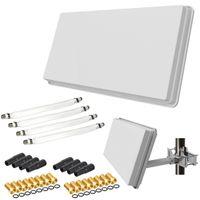 Selfsat H30D4+ Flachantenne Quad + Fensterhalterung + 4 Fensterdurchführung + 16 F-Stecker + 8 Wetterschutztüllen (Full HD 4K UHD Sat Anlage für 4 Teilnehmer) netshop 25 Set