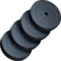 ScSPORTS® 40 kg Hantelscheibenset Hantelscheiben Gewichte Kunststoff 4 x 10 kg Gewichte 30/31 mm Bohrung - leise und bodenschonend für Zuhause