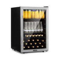 Klarstein Beersafe 5XL Getränkekühlschrank - Kühlschrank, 148 L für bis zu 231 Getränkedosen, 3 Metalleinlegeböden, Glastür, , freistehend, Bodenrollen, Edelstahlfront