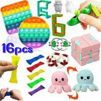 16 Stück / Set Push Bubble Fidget Antistress Toys Erwachsene Kinder Pop Fidget Sensory Toy