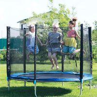 Trampolin Gartentrampolin Ø183cm,Komplettset Kindertrampolin Outdoor Trampolin mit Sicherheitsnetz  Blau