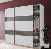 Schwebetürenschrank Kleiderschrank Altona weiß grauglas 225cm
