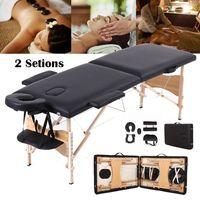 Mobile Massageliege klappbare Therapieliege tragbares Massagebett leichter Massagetisch Schwarz 2 Zonen Holzfüße