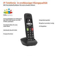 GIGASET E290HX schnurloses DECT Telefon (IP-Telefon Fritzbox kompatibel - VOIP, große Taste, großes Display) schwarz