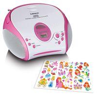 Lenco SCD-24 Kids - tragbarer Radio CD-Player - CD-Radio - UKW Radio - Titel Speicher - 2 x 1,5 Watt RMS - mit Aufklebern - Blau