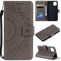 Hülle für Samsung Galaxy A22 5G Handyhülle Flip Case Cover Tasche Mandala Grau
