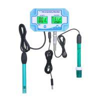 3-in-1-PH / Salzgehalt / TEMP-Wasserqualitaetsmonitor Multifunktionaler pH- und Salzgehaltmonitor Temperaturmesser Dual-LCD-Display mit gruener Hintergrundbeleuchtung