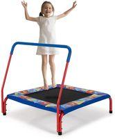COSTWAY Mini Trampolin 92 x 92cm, Fitness Trampolin mit Griff, Kindertrampolin bis 150kg belastbar, Gartentrampolin, Indoor- und Outdoortrampolin für Kinder im Alter von 3-7 Jahren