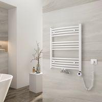 EMKE Elektrischer Badheizkörper mit Thermostat 75x60cm Gebogen Handtuchtrockner für Wasser oder Strom Handtuchwärmer, Mittelanschluss Vertikal Weiß