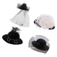 2Pcs Vintage Bowler Doll Caps mit Rose Dekoration für Puppen schwarz