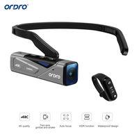 ORDRO EP7 Kopf tragbare 4K 60fps Videokamera First Person View Freisprecheinrichtung Camcorder APP-Steuerung Autofokus Eingebauter 2-Achsen-Kardan-Anti-Shake mit Fernbedienung