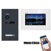 WLAN Video Türsprechanlage BALTER EVO 2-Draht BUS Komplettsystem für 1-Familienhaus (Türstation Farbe : Silber)