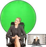 Grün Hintergrund Green Screen, 110cm Durchmesser faltbares Grün Reflektierendes Hintergrundtuch, Einseitiger Hintergrund für Live-Video, Videokonferenz