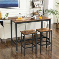 VASAGLE Bartisch-Set mit 2 Barhockern | Stehtisch 120 x 60 x 90 cm | Küchentresen mit Barstühlen | im Industrie-Design Vintage dunkelbraun LBT15X