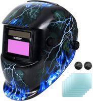 Yorbay Solar Automatisch verdunkelnd Schweißhelm Schweißmaske mit 5 Stück Ersatzgläser, Schleif-Funktion (Skull, Lightning)