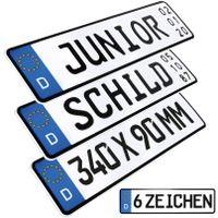 1x Kennzeichen Junior mit Datum Geburtstags Schild Junior Bobby Car Kettcar Wunschtext FUN Schild Funschild