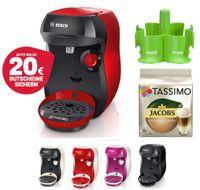 Bosch TASSIMO Happy + 20 EUR Gutscheine* + TDisc + Spender Heißgetränkemaschine, Farbe:Rot