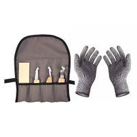 Holz Schnitzmesser Kit mit Tasche und Schutzhandschuhe, Schnitzwerkzeug Set zum Löffel Schnitzen